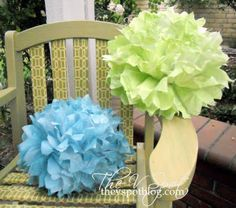 """Who knew?  You can spray paint tissue paper.  Tami's Notes:  Use very quick, sweeping bursts of spray.  Heavy spray = droopy balls!  But, a great way to get a custom """"ombre"""" effect."""