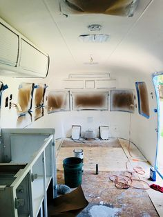 Airstream Decor, Airstream Remodel, Airstream Interior, Airstream Trailers, Interior Walls, Interior And Exterior, Rustoleum Spray Paint, Paint Primer, Paint Line