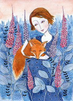 Fox Love, 11 x 8 original watercolor painting, fox and flowers wall art