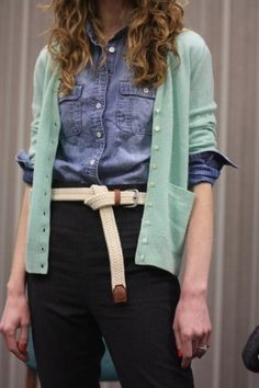 Add an Oversized Belt  Borrow belts from the boys. Find any vintage men's belts from Good Will. It will balance an otherwise feminine outfit. The larger the belt, the smaller it will make you look!