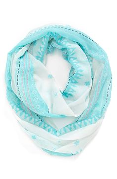 Mom will love this pretty blue, light and airy infinity scarf.