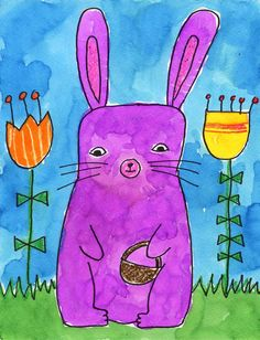 easy Easter bunny drawing