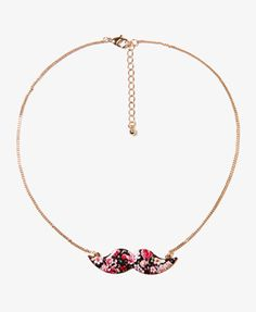 Floral Mustache Charm Necklace | FOREVER21 - 1028090304