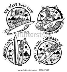 Vector Logos Illustration with Skeleton Surfers. Set of Vintage Surfing Emblems for web design or print. Surfer logo templates. Surf Badge. Surfboard elements. - compre este vetor na Shutterstock e encontre outras imagens.