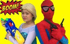 Spiderman vs Venom vs Frozen Elsa gunfight, Anna Joker Captain Fun Super...
