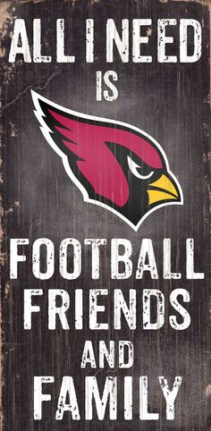 Arizona Cardinals Wood Sign - Football Friends and Family - 6 x12