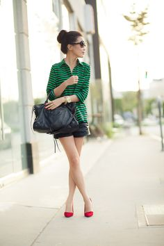 Christmas in June :: Green stripes & Red suede : Wendy's Lookbook