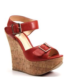 Take a look at this Red Tak En Cork Wedge by Luichiny on #zulily today!