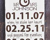 Signe de mariage personnalisé, cadeau de fiançailles, cadeau de mariage, cadeau de douche de mariage, cadeau anniversaire, signe Date spéciale