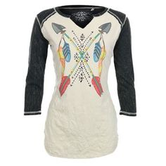 Rock & Roll Cowgirl Women's Feather and Arrow Long Sleeve Shirt