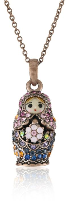 """Andrew Hamilton Crawford """"Sparkling"""" Baby Mamuska Doll in Rose and Purple Necklace - designer shoes, handbags, jewelry, watches, and fashion accessories 