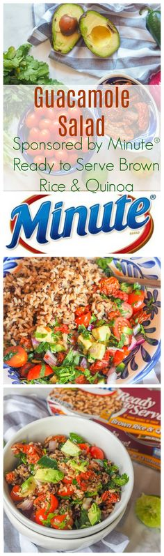 Have lunch on the table in 10 minutes with this deconstructed guacamole salad mixed with Minute Ready to Serve Brown Rice & Quinoa. Vegan, Gluten-Free, hearty and wholesome. AD