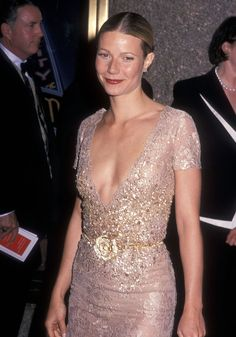 Actress Gwyneth Paltrow attends the 55th Annual Tony Awards in a stunning sequin & embroidered nude dress.