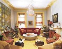 Man, I love everything about this boho-gutsy room! Love the matchstick shades, yellow contemp. carpet & of course, the ship! I'm searching for one of these!  This room by Muriel Brandolini,  she's one hella-fa-designer!
