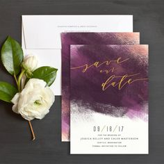 Modern Brushstroke Save the Dates in plum and blush - available at elli.com