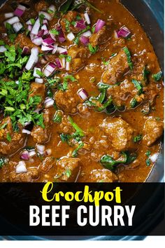 This CROCKPOT Beef Curry is a simple, prepare ahead midweek meal. A tasty 'fakeaway' curry, the slow cooked beef pieces are cooked in a tomato sauce. This beef stew style curry is also easily adaptable to the Slimming World or Weight Watchers plan as it's light, healthy and low fat. #crockpotrecipe #slowcookerrecipe #beefcurry #curryrecipe #tamingtwins Slow Cooker Recipes, Meat Recipes, Crockpot Recipes, Cooking Recipes, Slow Cooker Beef Curry, Slow Cooked Beef, Family Recipes, Family Meals, Meat Dish