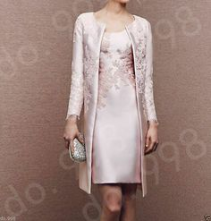 Long Light Pink Jacket Mother Of the Bride Dresses Women Formal Occasion Outfits Mother Of Bride Outfits, Mothers Dresses, Mother Of The Bride Dresses Knee Length, Bride Groom Dress, Groom Outfit, Pink Wedding Guest Dresses, Godmother Dress, Fairy Godmother, Dress Outfits