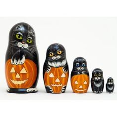 Halloween Cats Russian Nesting Doll 5pc./5""