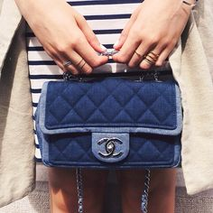 In love with this baby chanel bag in two tone denim #kayture