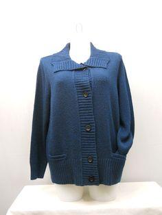 Plus Size 2X Womens Sweater Coat KAREN SCOTT Solid Teal Marl Long Sleeves Collar #KarenScott #Sweatercoat
