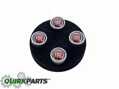 "2012-2016 FIAT 500 500L 500X SILVER VALVE STEM CAPS WITH ""FIAT"" LOGO OEM MOPAR #FIATMOPAR"