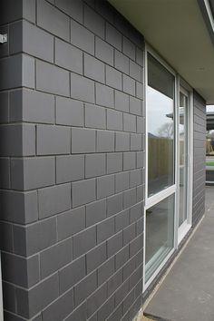 Concrete Block Walls, Concrete Houses, Concrete Wall, Midland Brick, Cinder Block House, Exterior Design, Interior And Exterior, Modern Brick House, Meat Shop