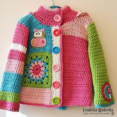 Items similar to Handmade crochet cardigan with owl and mushroom appliques on Etsy