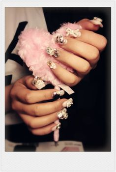 Wedding Nails  with crystal gel and bowknot. Romantic French style. Top 5 Wedding nails. Goes well with any wedding dresses.