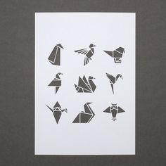 Weiße Origami Vogel A4 papercut von sarahlouisematthews auf Etsy