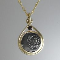 """14K yellow gold frame with """"Widow's Mite"""" coin and Bloodstone trim.  Details at www.thekaratpatch.com"""
