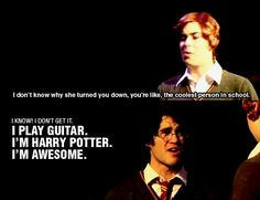 """(AVPM) + (Starkid) + (""""I don't know why she turned you down, you're like, the coolest kid in school""""//""""I know! I play guitar. I'm Harry Potter. I'm awesome"""") Harry Potter Musical, Harry Potter Fandom, Harry Potter Memes, Look At You, Just For You, A Very Potter Sequel, Team Starkid, Avpm, The Rocky Horror Picture Show"""