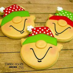 cute little elves Christmas Sugar Cookies, Christmas Sweets, Noel Christmas, Christmas Goodies, Holiday Cookies, Christmas Baking, Ice Cream Cookies, Fancy Cookies, Iced Cookies