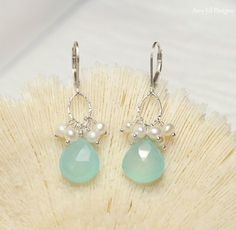Aqua Chalcedony Earrings, Freshwater Pearls, Sterling Silver, Aqua Chalcedony Jewelry, Drop Dangle Gemstone Earrings by AmyJillDesigns on Etsy https://www.etsy.com/listing/219311900/aqua-chalcedony-earrings-freshwater