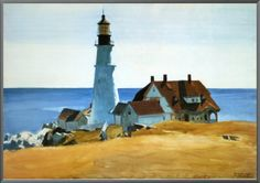 Edward Hopper - Lighthouse and Buildings, Portland Head, Cape Elizabeth, Maine - 1927