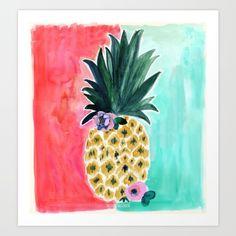 Pineapple Leia Tropical Art Print   by Crystal Walen.  Pineapple, beach, watercolor painting, tropical pink, aqua blue, ocean, aloha, welcome, pretty, boho chic, island, hula, girl, paradise
