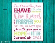 Jeremiah 2911. For I Know the Plans. Bible by LittleLifeDesigns