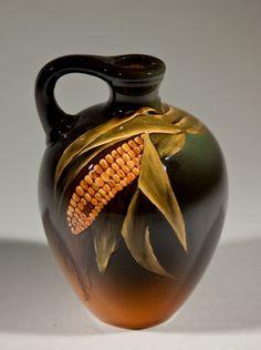 Jug, 1895. Corn, glazed clay; Rookwood Pottery, Cincinnati, 1880–1967; Caroline Francis Steinle, American, 1877–1944, decorator; H. 5 3/4 in. (PO-147-86).