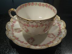 Theodore Haviland Limoges Pink Roses Double Gold Band Tea Cup Saucer