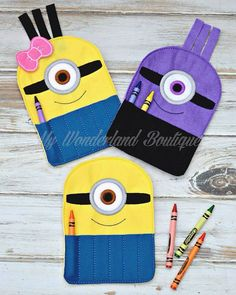 Minion inspired felt crayon holder by MyWonderlandBoutique on Etsy