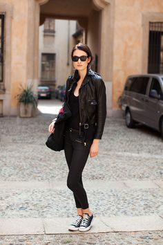 layering under her leather jacket - it really does need tissue thin layers though