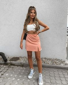 """Dress a.s. a Queen of Fashion on Instagram: """"OOTD. Which outfit would you wear???😍✨ credit @christina.alexia #asaqueen #ootd #outfit #fashion #style ❤️"""" Denim Skirt, Leather Skirt, Summer Memories, Queen, Dress Sandals, Mini Skirts, Ootd, Glamour, How To Wear"""