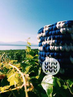Basket t-shirt yarn blue & beige. Message me for a custom order. T Shirt Yarn, Basket, Beige, Bracelets, Handmade, Crocheting, Hand Made, Craft, Bracelet