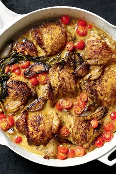 """NYT Cooking: Here is a simple, excellent one-pot recipe for a midweek feast, full of rich flavor, with a sauce that you won't want to waste. It came to The Times via the Twitter account of Andrew Zimmern, who eats bugs on television as the host of """"Bizarre Foods"""" on the Travel Channel but lives a sedate life back home in Minnesota when he's not working, which is not often. His wife, Rishia Zimmern, adapted ..."""