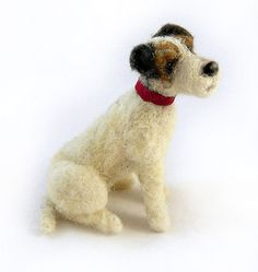 Parson/ Jack Russell Terrier, Artist Needle Felted Dog, OOAK by Elouise Bears