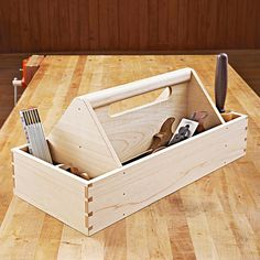Heirloom Tool Tote Woodworking Plan from WOOD Magazine Small Woodworking Projects, Small Wood Projects, Woodworking School, Learn Woodworking, Popular Woodworking, Woodworking Furniture, Woodworking Plans, Woodworking Nightstand, Diy Projects