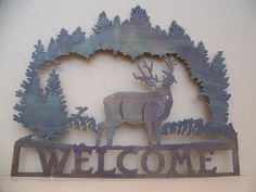 Deer Welcome sign by SCHROCKMETALFX on Etsy, $40.00