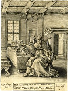 St Gregory; wearing papal tiara and reading from a large tome on a table; after Maarten de Vos. 1586  Engraving Heironymus Weirix