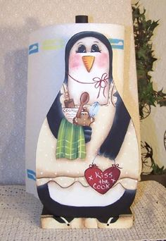 penguin paper towel holder Winter Project, Winter Craft, Towel Holders, Paper Towel Holder, Penguin Love, Tole Painting, I Am Happy, Wood Projects, Crafting