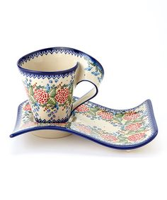 Another great find on #zulily! Coral Bouquet Coffee & Cake Set by Lidia's Polish Pottery #zulilyfinds
