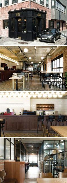 [No.120 더보이] 52평 삼성동 모던 빈티지 카페 인테리어, 베이킹룸, 로스팅룸, 고급 인테리어, 럭셔리, bakery cafe Restaurant Facade, Cafe Restaurant, Restaurant Design, Bistro Design, Coffee Shop Design, Bakery Interior, Shop Facade, Bakery Design, Japanese Interior